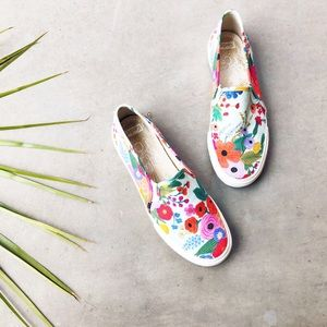 RIFLE PAPER KEDS Floral Printed Slip On Sneakers